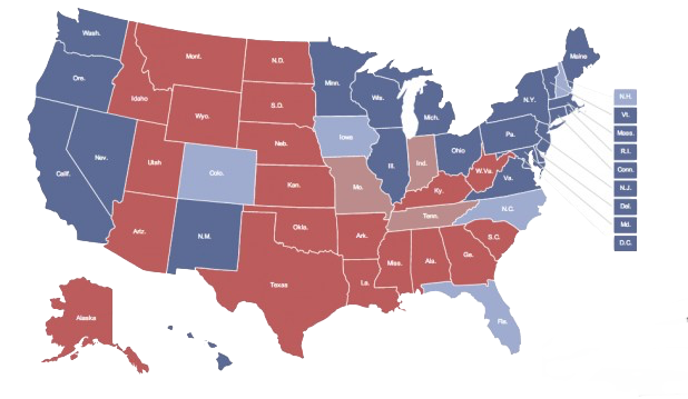 Data Visualization For Social Science - Us map showing red and blue states