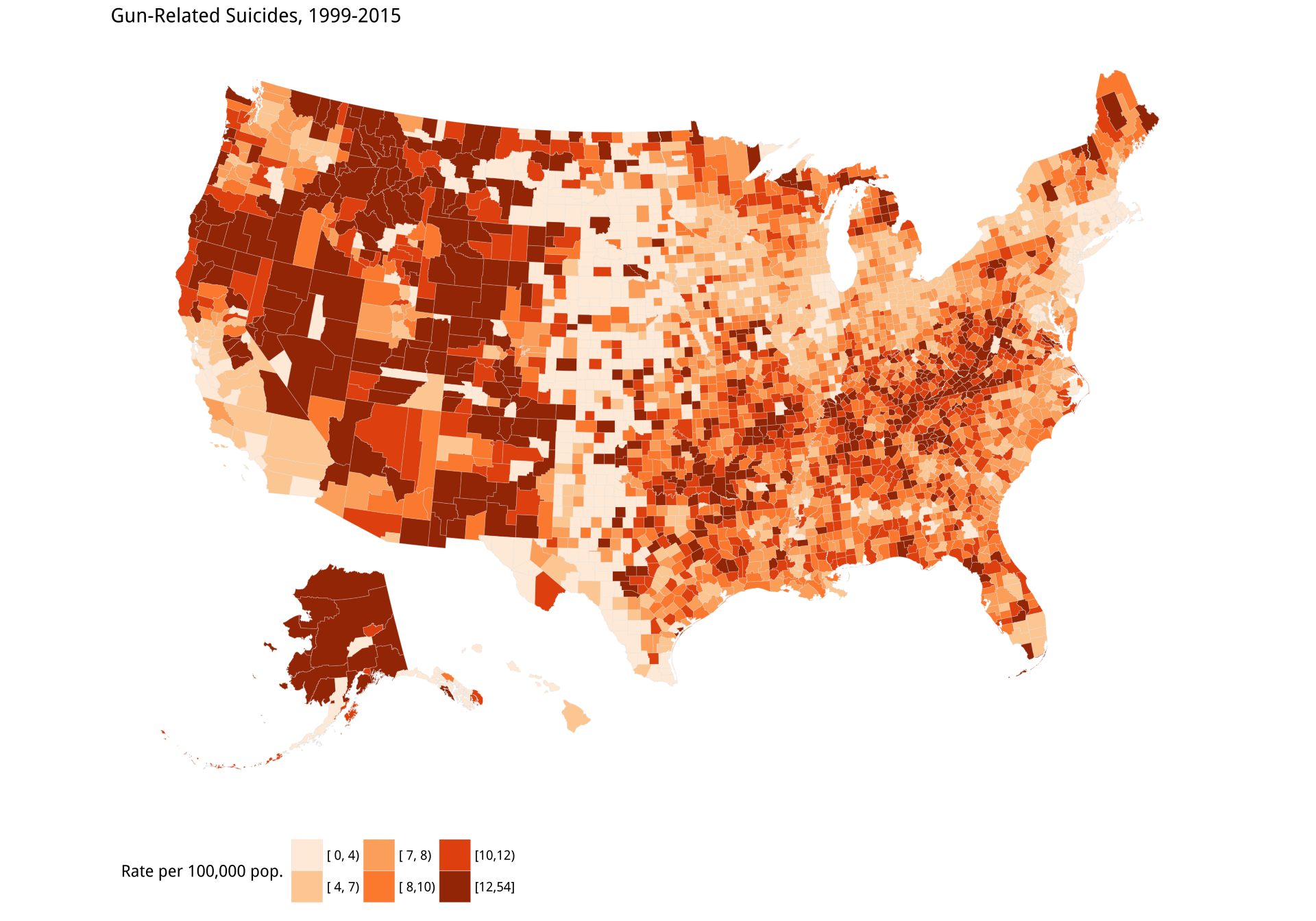Gun-related suicides by county; Reverse-coded population density by county. Before tweeting this picture, please read the text for discussion of what is wrong with it.
